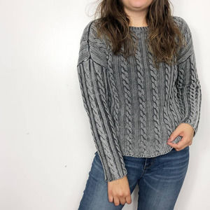 TULLE Distressed Charcoal Gray Cable Knit Sweater
